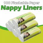 100 смываемых бумажных вкладышей для подгузника